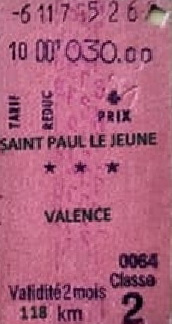 Ticket de train gare de Saint-Paul-le-Jeune