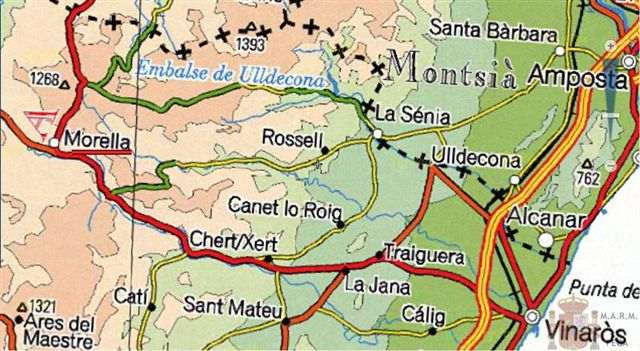 Situation de Morella sur la carte